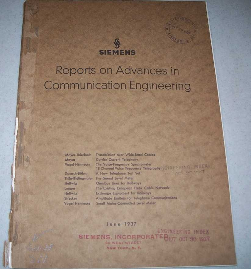 Siemens Reports on Advances in Communication Engineering, June 1937, Various