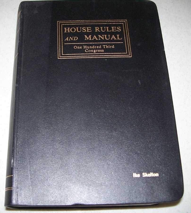 Constitution Jefferson's Manual and Rules of the House of Representatives of the United States, One Hundred Third Congress, Brown, Wm. Holmes