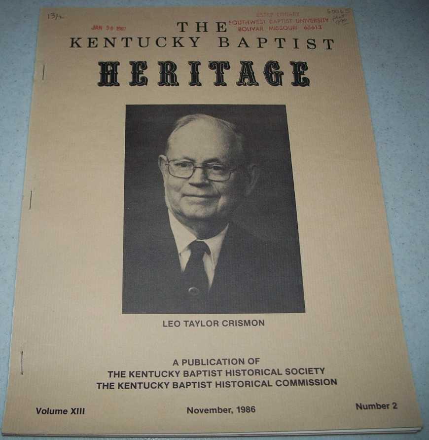 The Kentucky Baptist Heritage November 1986, N/A