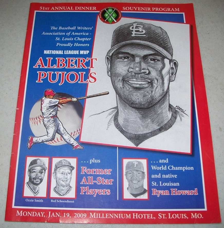 Baseball Writers' Association of America 51st Annual Dinner Souvenir Program: Honors National League MVP Albert Pujols, 2009, St. Louis, N/A