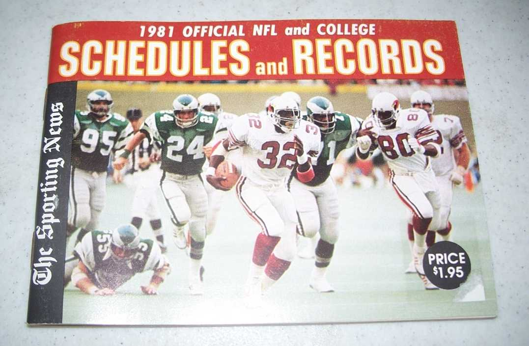 1981 Official NFL and College Schedules and Records, N/A
