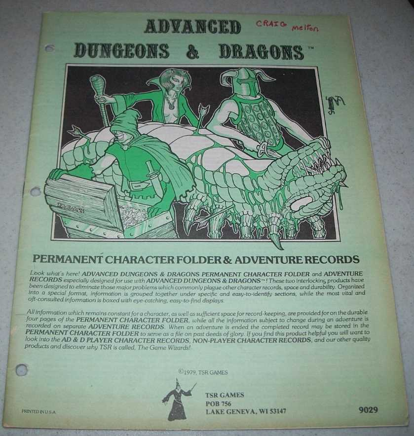 Advanced Dungeons & Dragons Permanent Character Folder & Adventure Records (AD&D), N/A