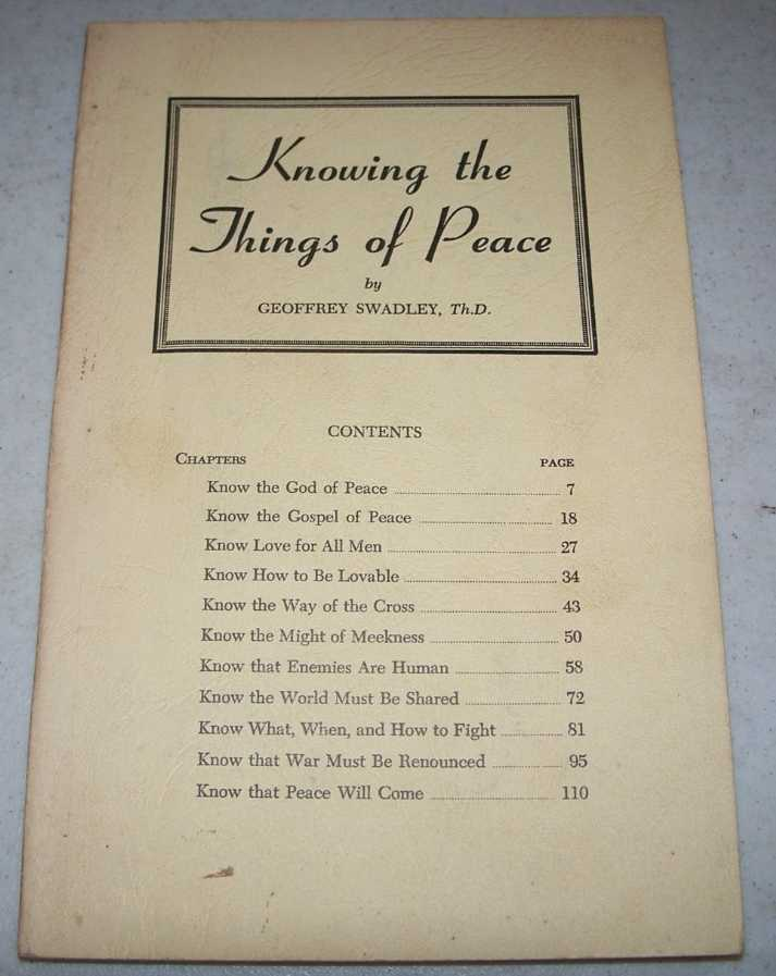 Knowing the Things of Peace, Swadley, Geoffrey