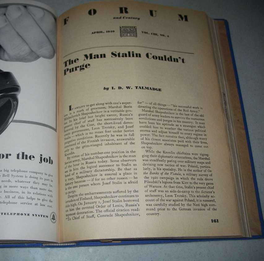 Forum and Century Magazine, Volume 103, January-June 1940 Bound in One Volume, N/A