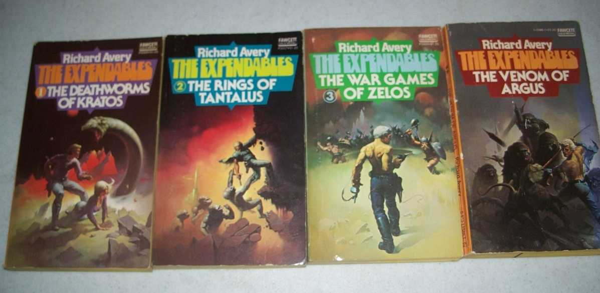 The Expendables Set of 4 Books: 1-The Deathworms of Kratos; 2-The Rings of Tantalus; 3-The War Games of Zelos; 4-The Venom of Argus, Avery, Richard