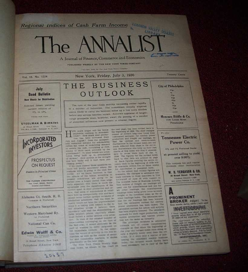 The Annalist: A Journal of Finance, Commerce and Economics July-December 1936, N/A