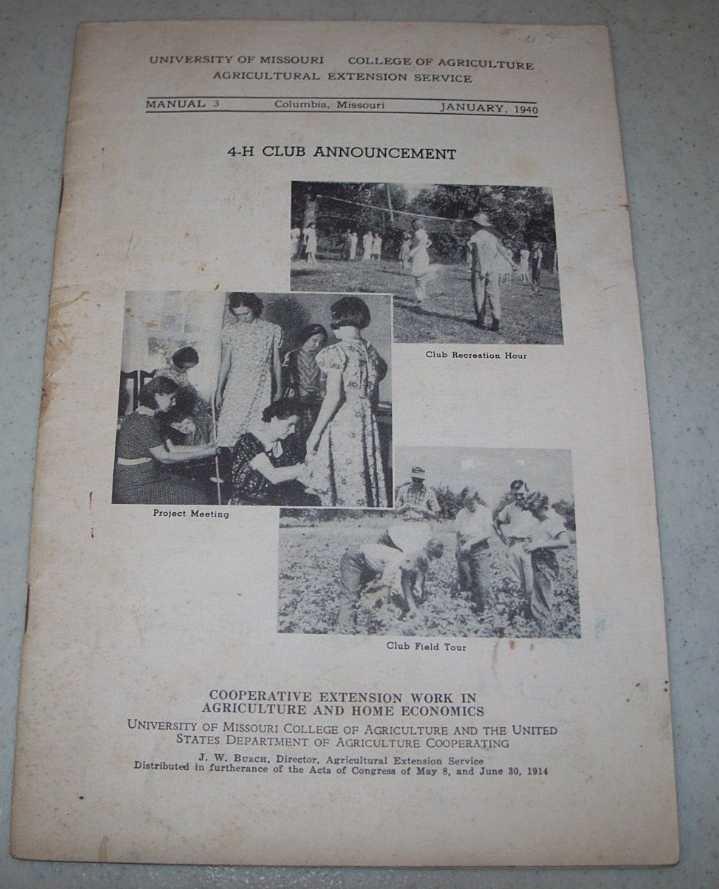 4-H Club Announcement (Manual 3, January 1940), N/A