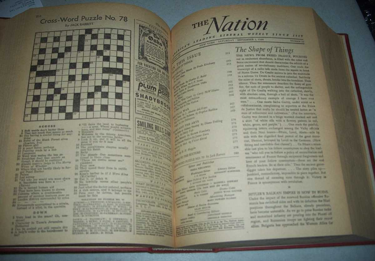 The Nation (Newspaper): America's Leading Liberal Weekly Volume 159, July-December 1944 Bound Volume, Various