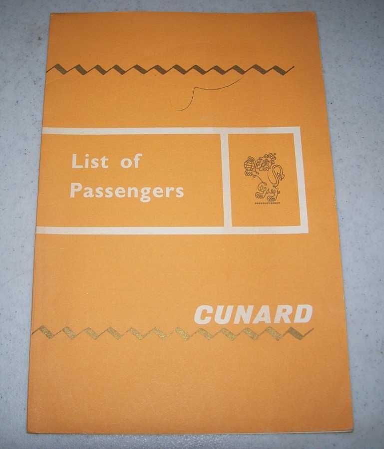 Cunard Line List of Passengers, R.M.S. Queen Mary Cabin, from New York to Cherbourg and Southampton, November 20, 1964, N/A