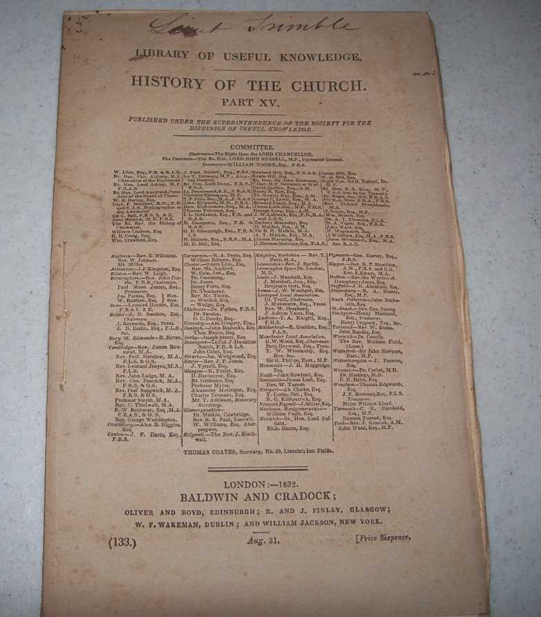 History of the Church Part XV (Library of Useful Knowledge part 133), Various