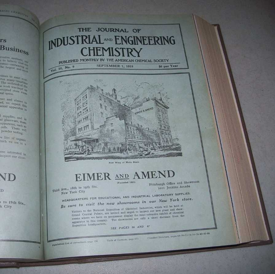 The Journal of Industrial and Engineering Chemistry Volume 10, July-December 1918 Bound in One Volume, N/A