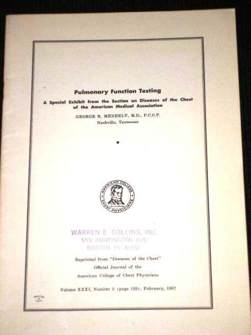 Pulmonary Function Testing, Meneely, George R.