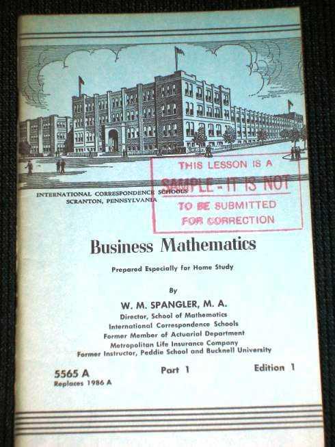 Business Mathematics, Part 1, Edition 1 - Pub 5565A, Spangler, W. M.