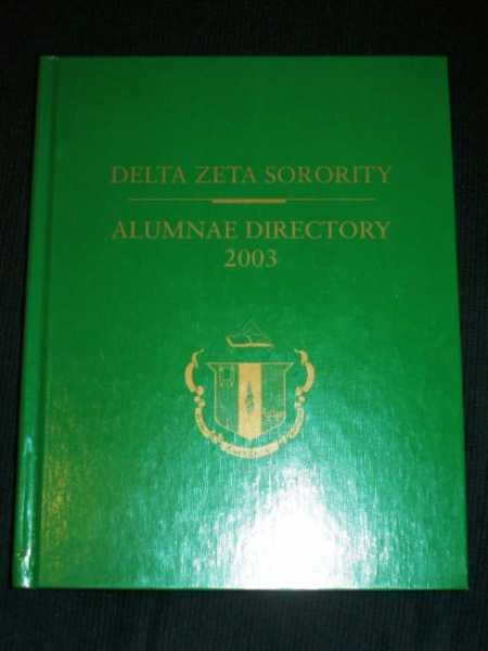 Delta Zeta Sorority - Alumnae Directory 2003, No Author Stated