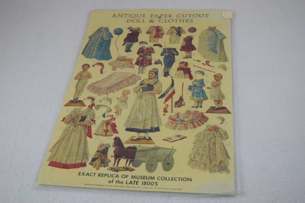 Image for Antique Paper Cutout Doll & Clothes - Uncut
