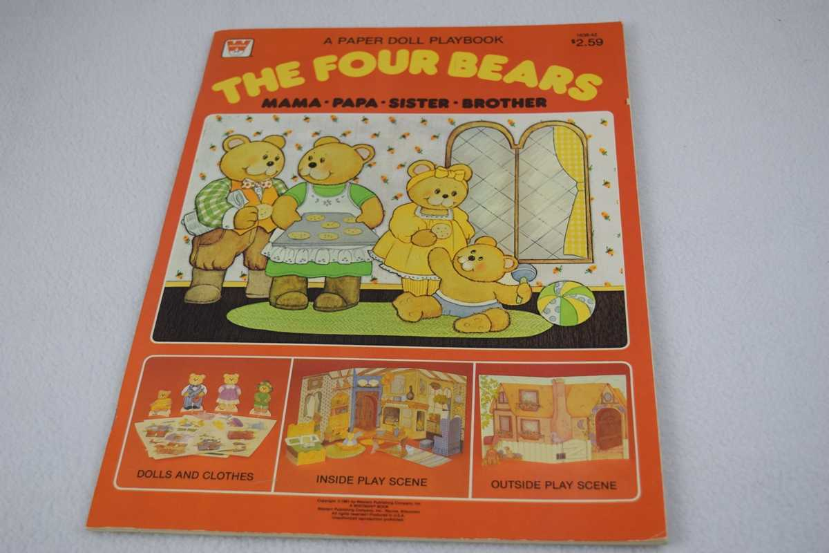 Image for Four Bears, The:  Mama, Papa, Sister, Brother - Uncut (#1838-42 A Paper Doll Playbook)