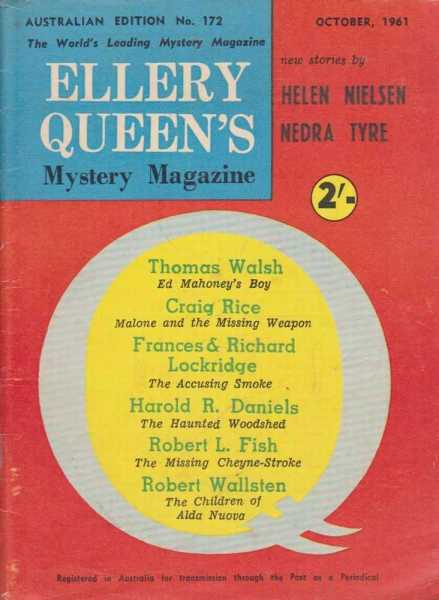 Ellery Queen's Mystery Magazine - Australian Edition No 172 - October 1961, Helen Nielsen and Nedra Tyre