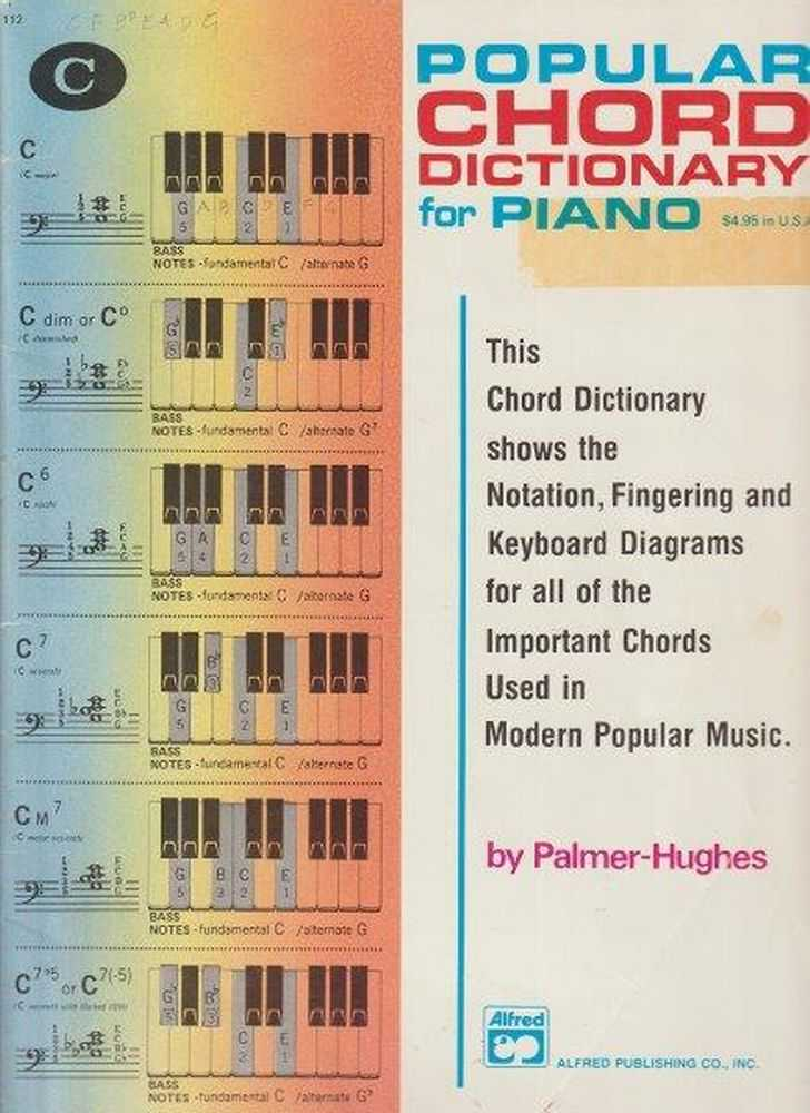 Popular Chord Dictionary For Piano, Palmer-Hughes