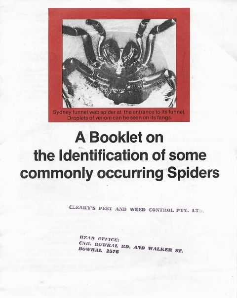A Booklet on the Identification of some Commonly Occurring Spiders, Phillip Hadlington