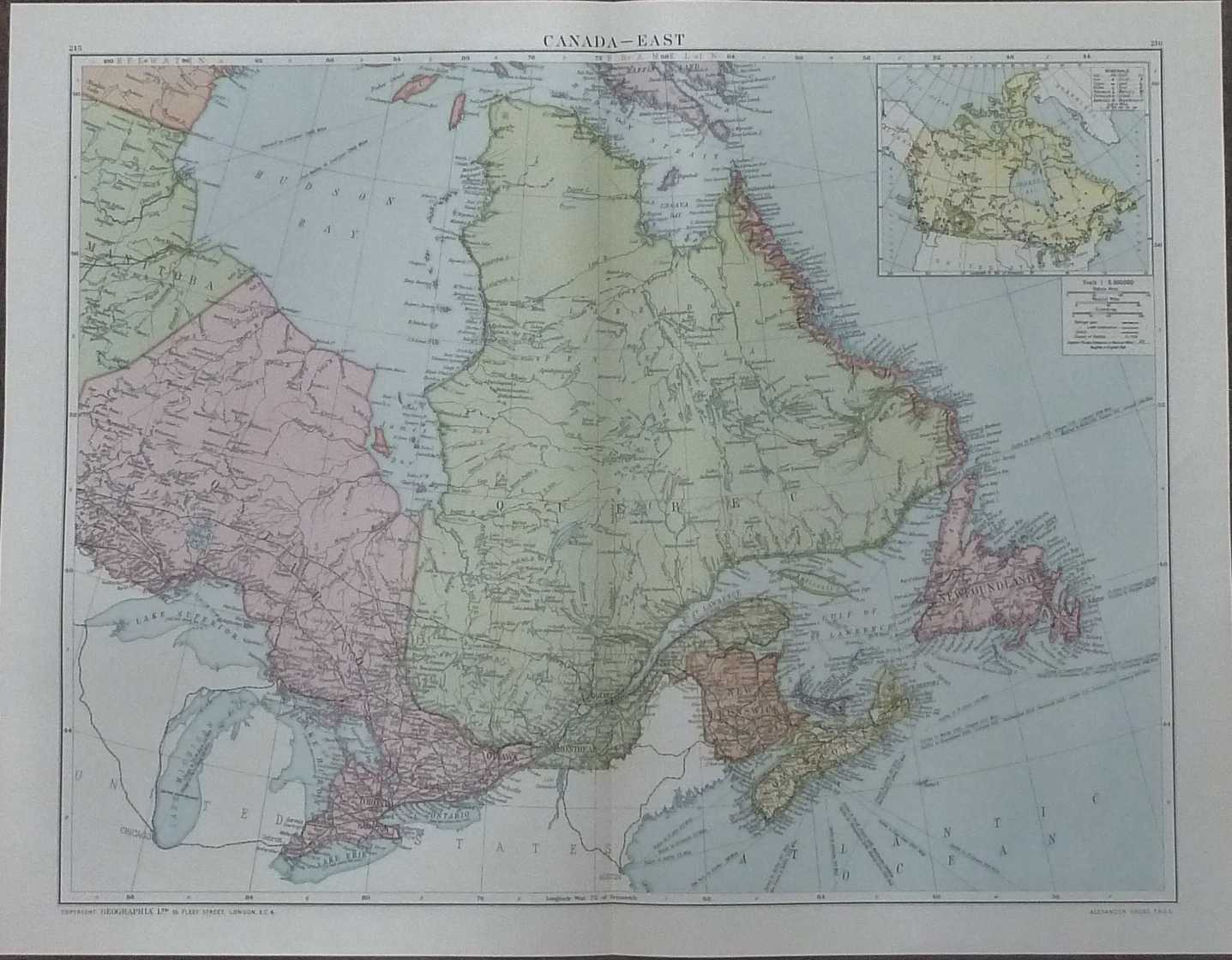 Map Of Canada Unmarked.Details About Gross Map Of Eastern Canada Daily Telegraph Victory Atlas