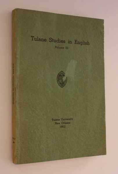Tulane Studies in English Volume III, Meyer et al, George