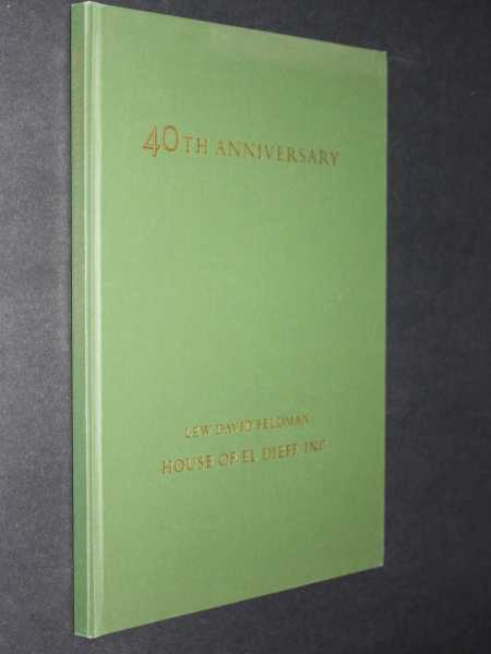 House of Dieff 1975 Fortieth Anniversary Catalogue Containing Forty Selections from Stock, Feldman, Lew David