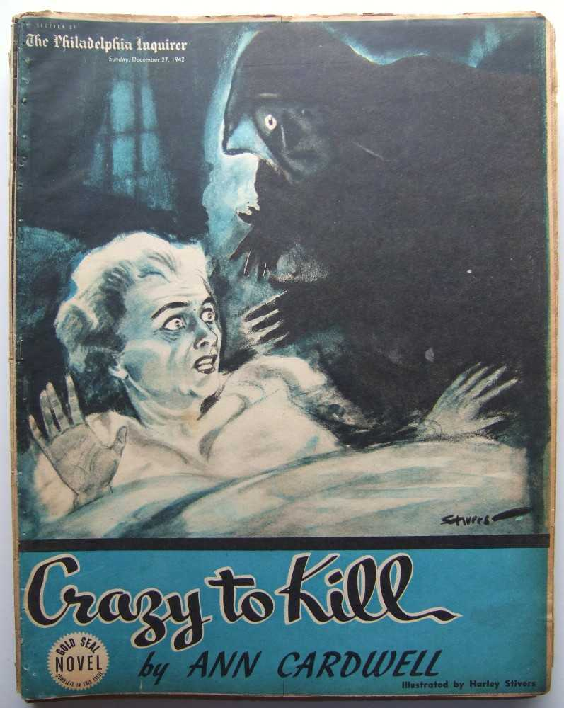 Crazy to Kill (Gold Seal Novel, presented by the Philadelphia Inquirer, Sunday, December 27, 1942), Cardwell, Ann