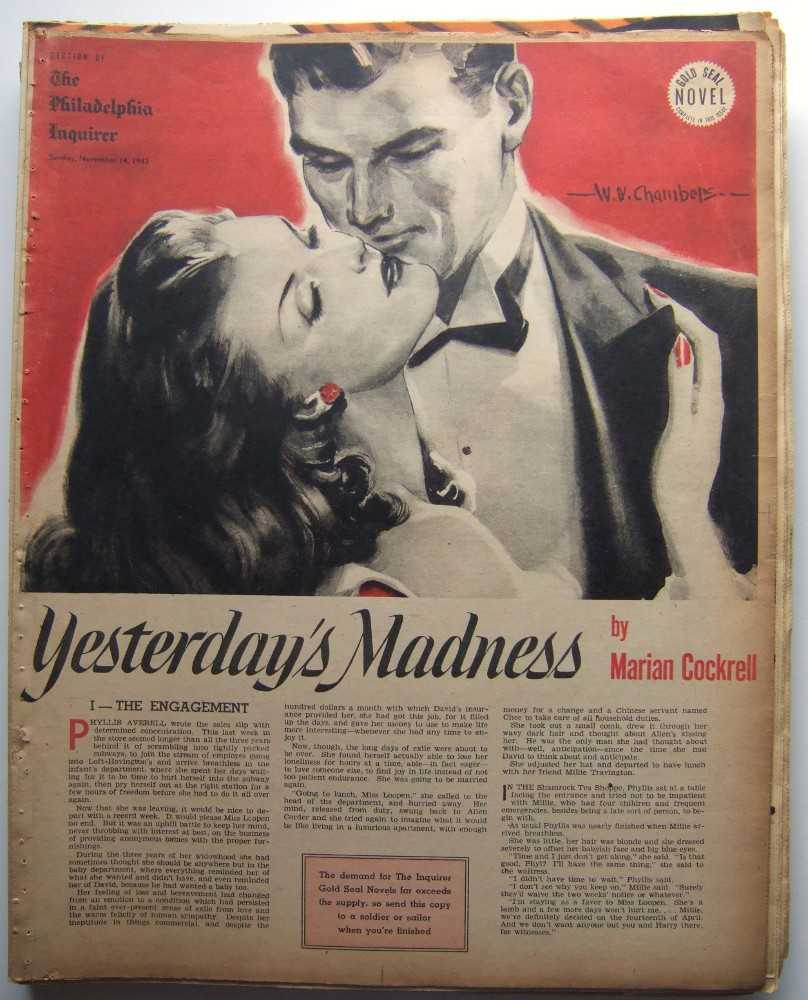 Yesterday's Madness (Gold Seal Novel, presented by the Philadelphia Inquirer, Sunday, November 14, 1943), Cockrell, Marian