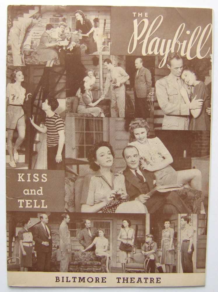 Kiss and Tell: Playbill for the Biltmore Theatre, 1943, F. Hugh Herbert; George Abbott