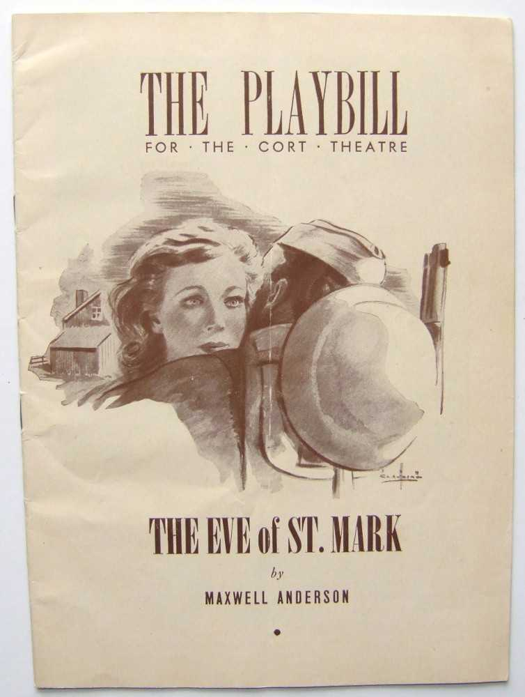 The Eve of St. Mark: Playbill for the Cort Theatre, 1943, Anderson, Maxwell