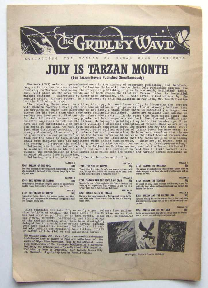 The Gridley Wave: Contacting The Worlds of Edgar Rice Burroughs #10 ('zine. June 1963), Burroughs, Edgar Rice