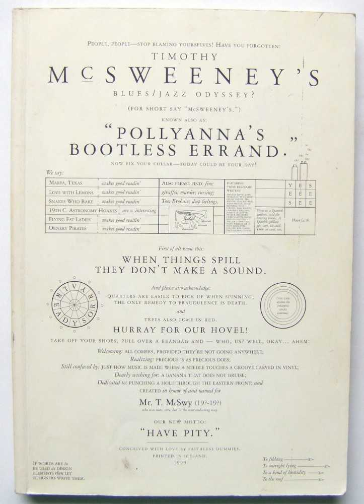 Timothy McSweeney's Blues/Jazz Odyssey? Known Also as: Pollyanna's Bootless Errand (McSweeney's 2), Eggers (editor), Dave