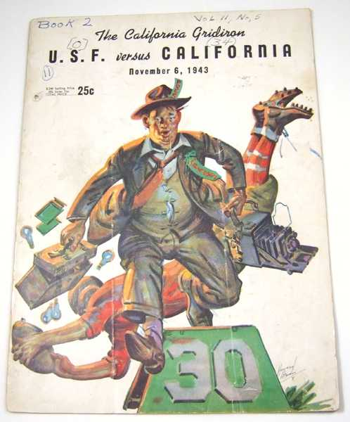The California Gridiron: U.S.F. vs. California, November 6, 1943 (Football Program), Associated Students University of California; Stub Allison; Al Tassi