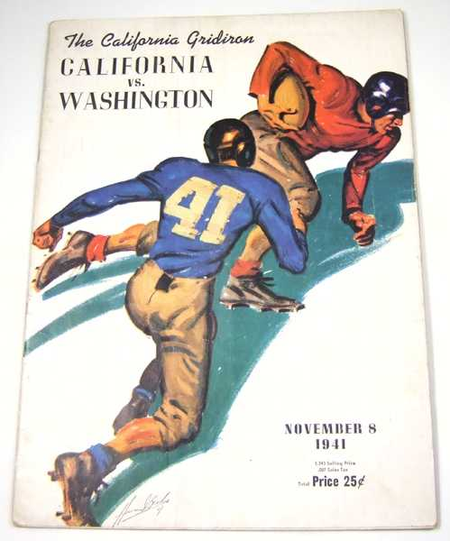 The California Gridiron: California vs. Washington, November 8, 1941 (Football Program), Associated Students University of California; Stub Allison