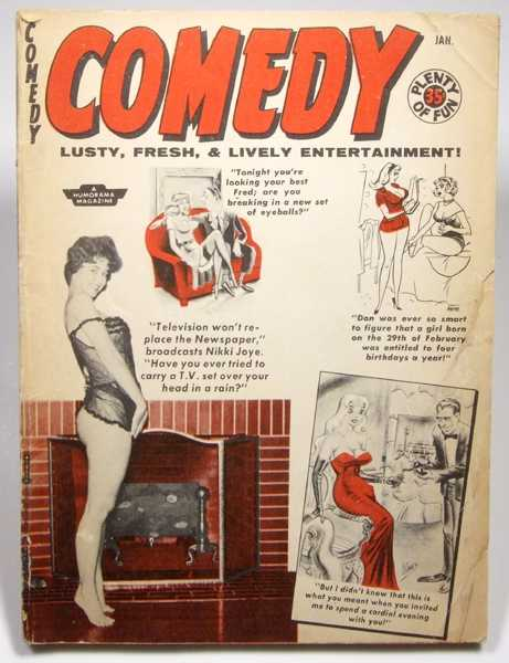 Comedy: Lusty, Fresh, & Lively Entertainment (Volume 8, #45, January 1959, Bill Ward; Bettie Page; Tempest Storm