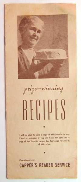 Prize-winning Recipes (Promotional Cook Book), Carper's Reader Service