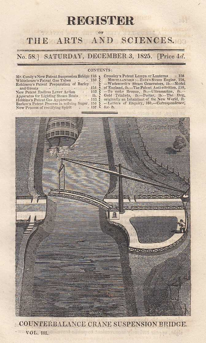 A bird's eye view of the new Patent Counterbalance Crane Suspension Bridge, Whitehouse's patent gas tubes, Robinson's prepared barley and groats, Hobbin's patent apparatus for obtaining and purifying gas from coal and Barlow's patent process for bleaching and clarifying sugar. Register of the Arts and Sciences. No. 58., ---.