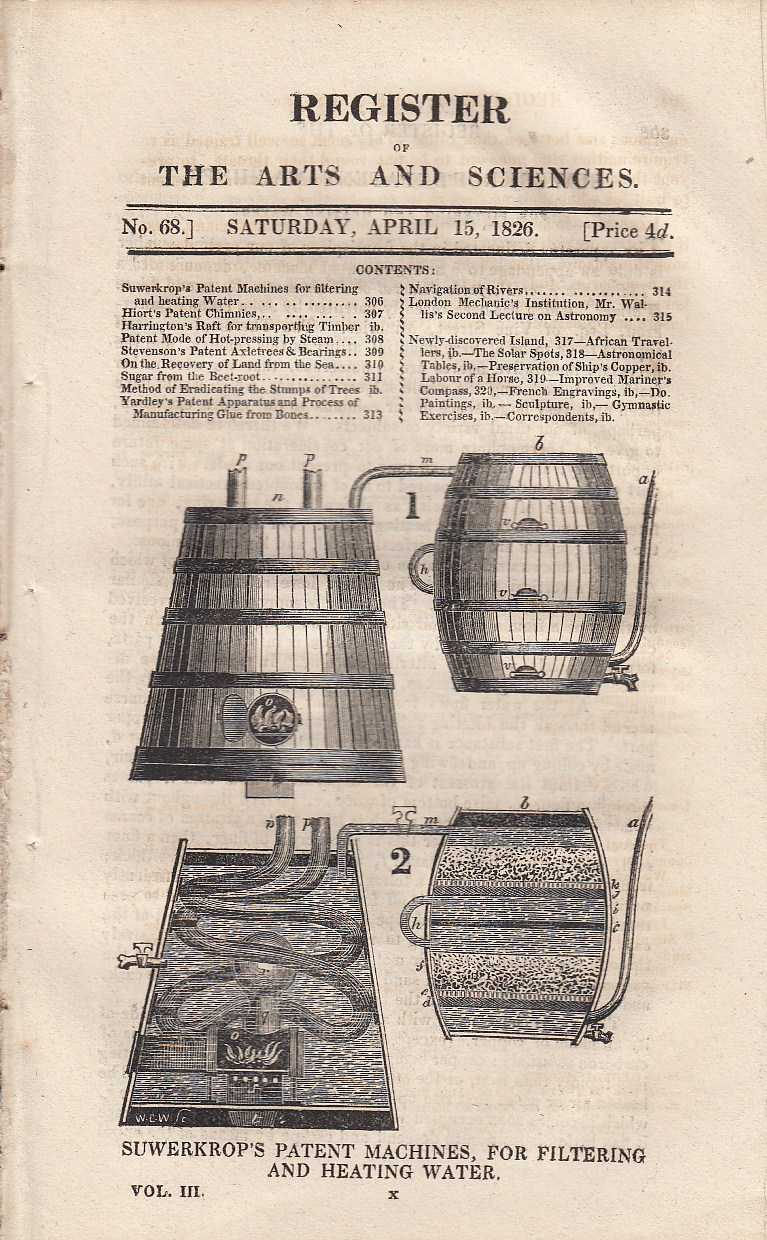 Suwerkrop's patent machines, for filtering and heating water, Hiort's patent chimnies, Harrington's patent raft for transporting timber, patent mode of hotpressing by steam, Stevenson's patent axletrees and bearings, method of eradicating the stumps of trees, and Yardley's patent apparatus and process of manufacturing glue from bones. Register of the Arts and Sciences. No. 68., ---.