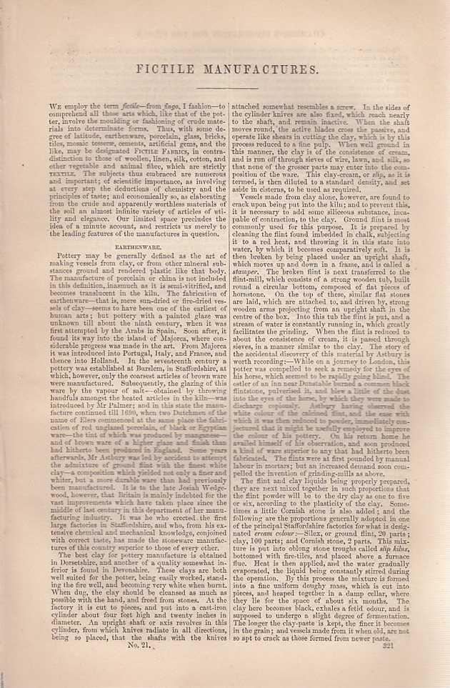 Fictile Manufacturers. An article from Chambers's Information for the People., Chambers, William and Robert.
