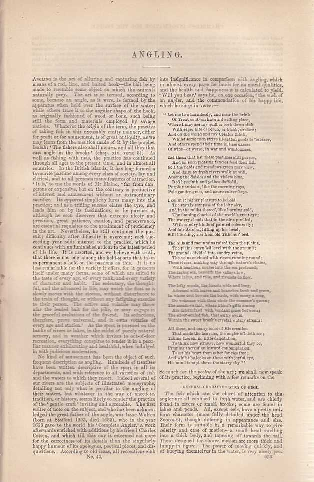 Angling. An article from Chambers's Information for the People., Chambers, William and Robert.