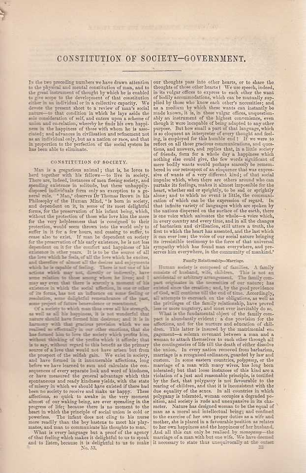 Constitution of Society and Government. An article from Chambers's Information for the People., Chambers, William and Robert.