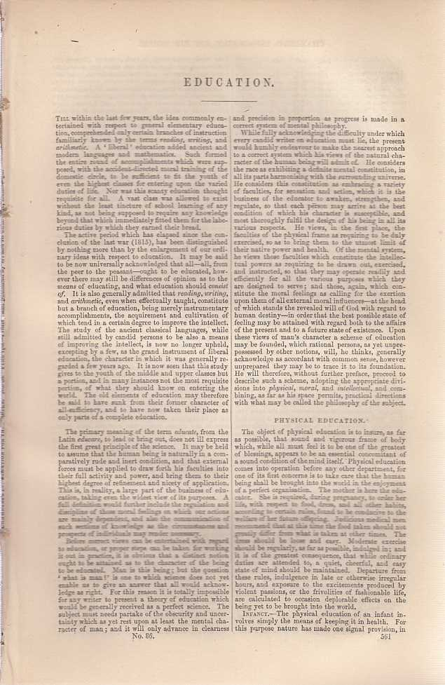 Education. An article from Chambers's Information for the People., Chambers, William and Robert.