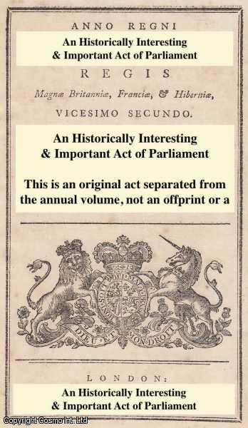 KING GEORGE III - An Act for the Abolition of certain Holidays, and for altering and extending the Time for keeping open the Chief Office of Excise.