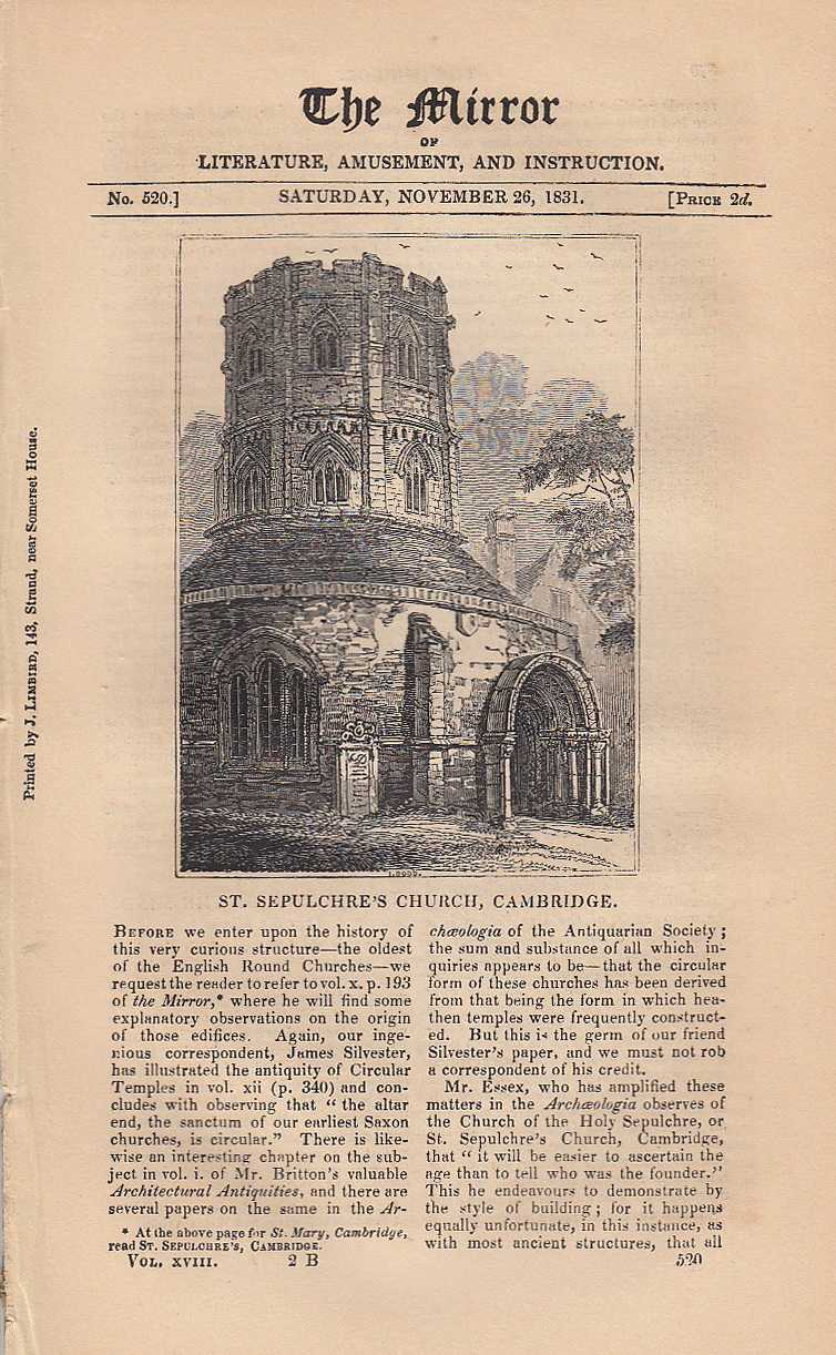 St. Sepulchre's Church, Cambridge. FEATURED in The Mirror of Literature, Amusement, and Instruction., ---.