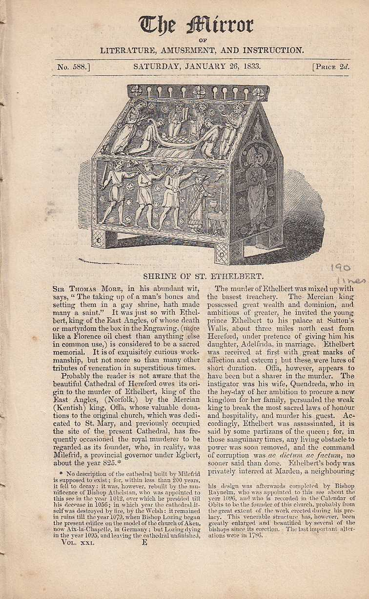 Shrine of St. Ethelbert.  FEATURED in The Mirror of Literature, Amusement, and Instruction., ---.