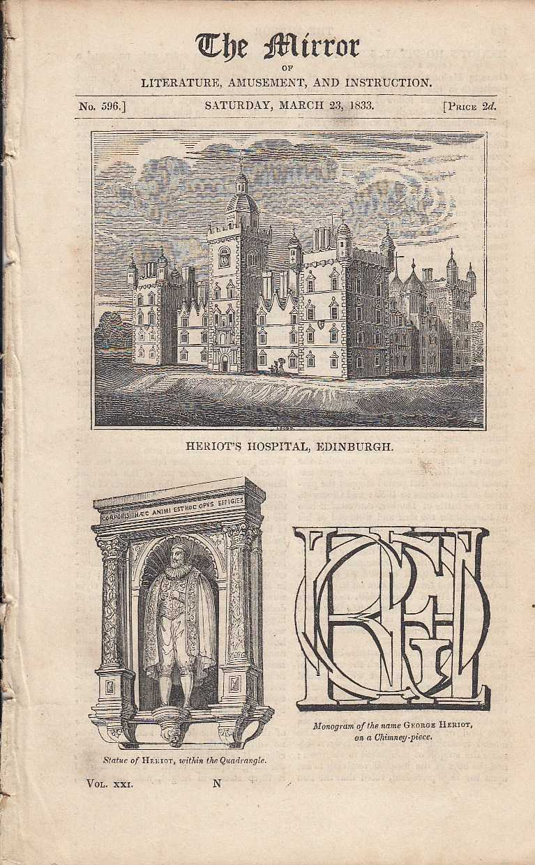 Heriot's Hospital, Edinburgh. FEATURED in The Mirror of Literature, Amusement, and Instruction., ---.