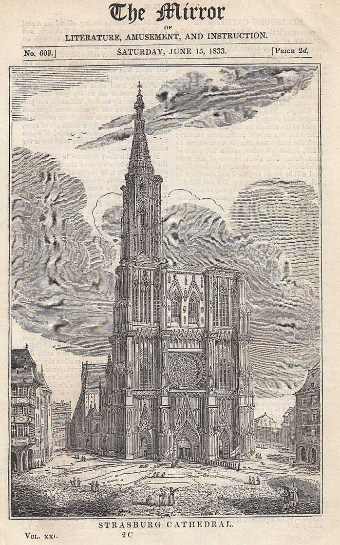 Strasburg Cathedral. FEATURED in The Mirror of Literature, Amusement, and Instruction., ---.