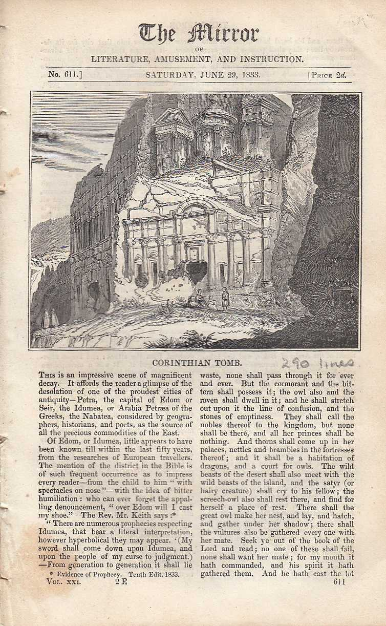 Corinthian Tomb. FEATURED in The Mirror of Literature, Amusement, and Instruction., ---.