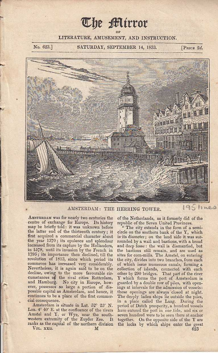 Amsterdam. FEATURED in The Mirror of Literature, Amusement, and Instruction., ---.