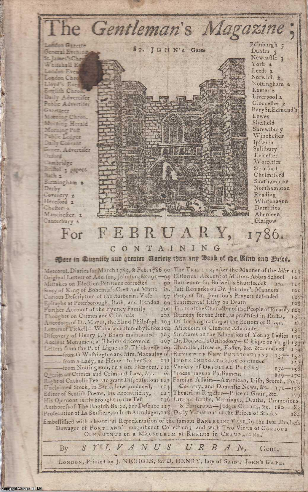 The Gentleman's Magazine for February 1786.  FEATURING One Plate of Curious Ornaments on a Mausoleum in Rheims., Urban, Sylvanus.